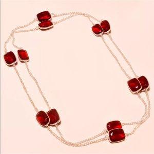 """Jewelry - Sterling 30"""" Faceted Garnet Necklace"""